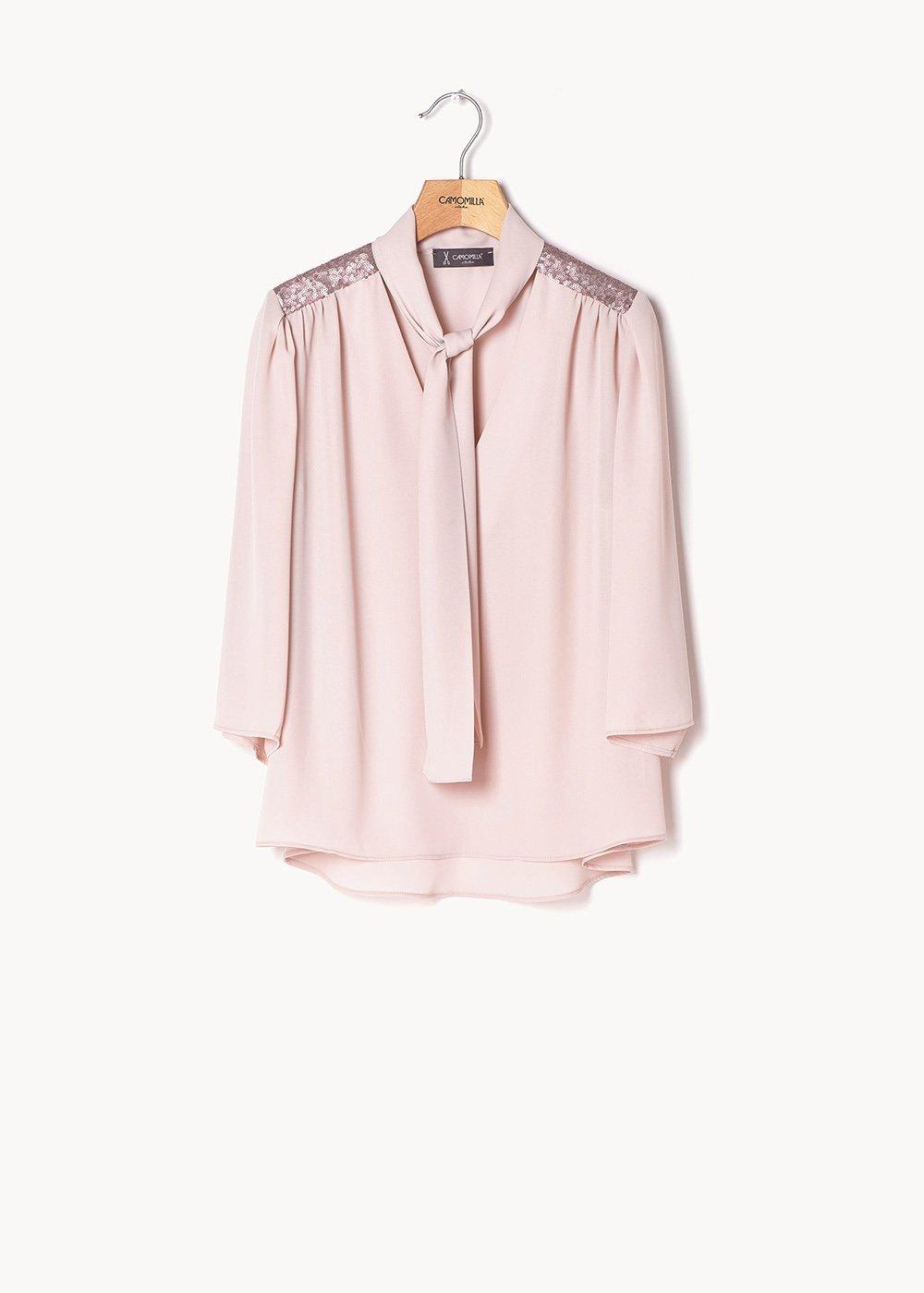 Blusa Criss con inserti di paillettes - Rosa - Donna