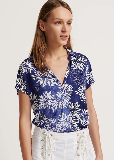 T-shirt Samelia fantasia fiorata blu