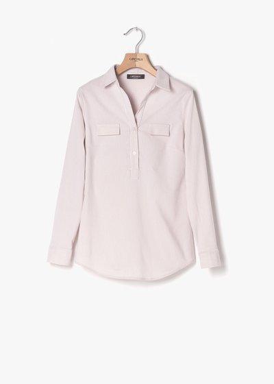 Paola shirt on striped fabric