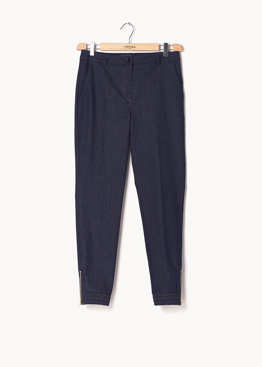 Pantalone modello Jane effetto denim - Dark Denim - Donna
