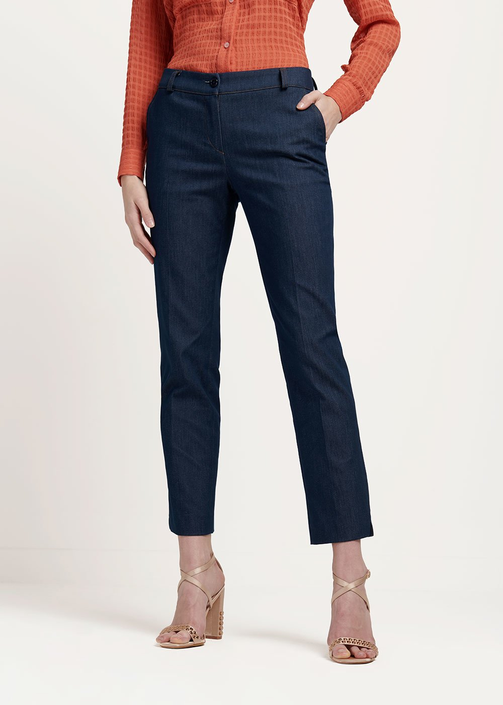 Pantalone modello Alice effetto denim - Dark Denim - Donna