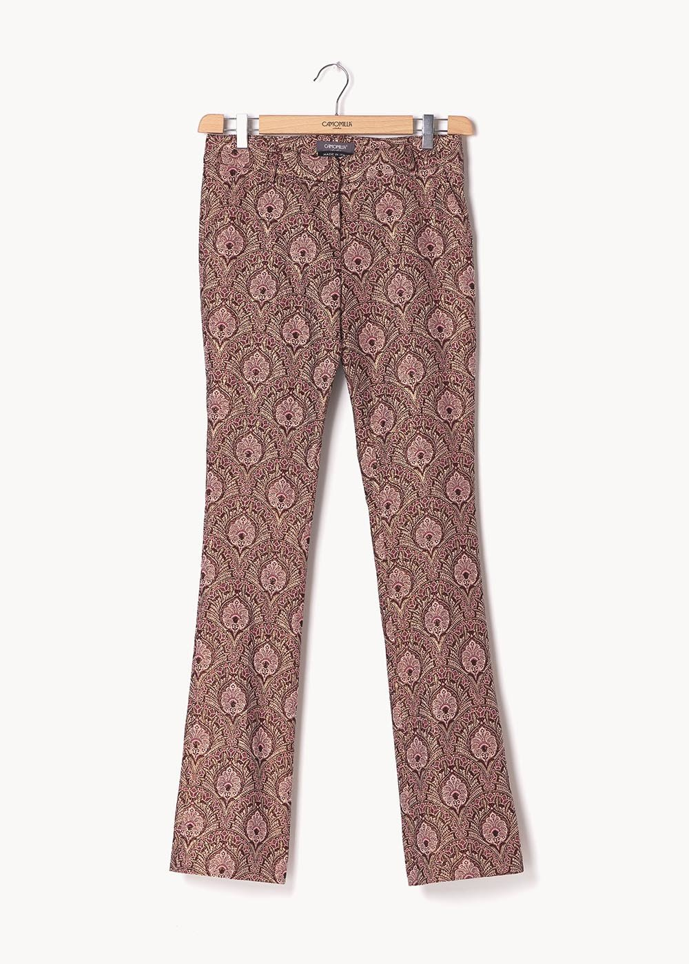 Pantalone modello Cindy fantasia damascata - Ciliegia /  Sepia Fantasia - Donna