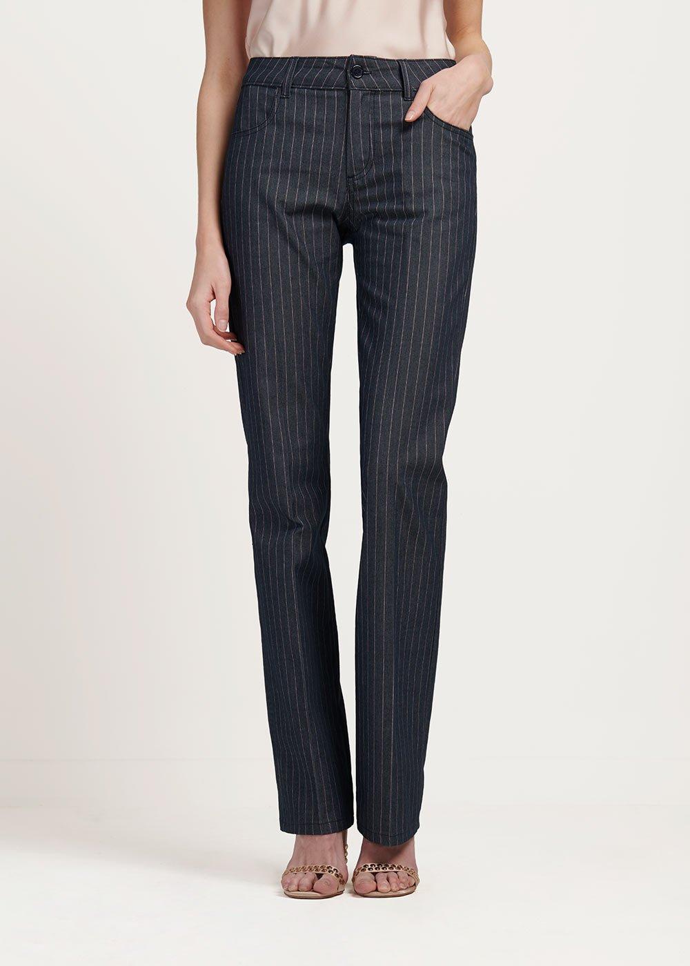 Pantalone modello Cindy fantasia gessata - Denim\rosa Stripes - Donna