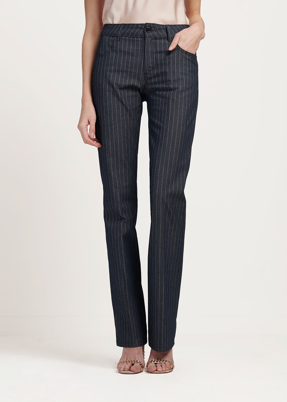 Cindy trousers with pinstripe pattern - Denim\rosa Stripes - Woman