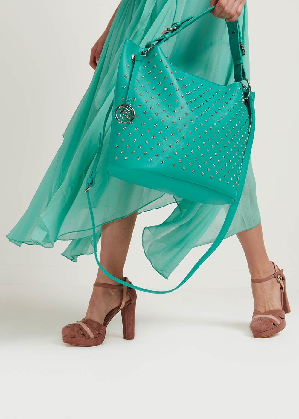 Badly bag with rhinestones - Emerald - Woman