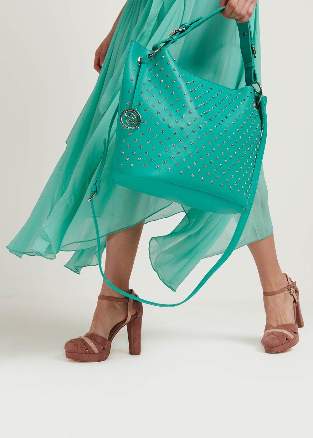 Badly bag with rhinestones - Emerald - Woman