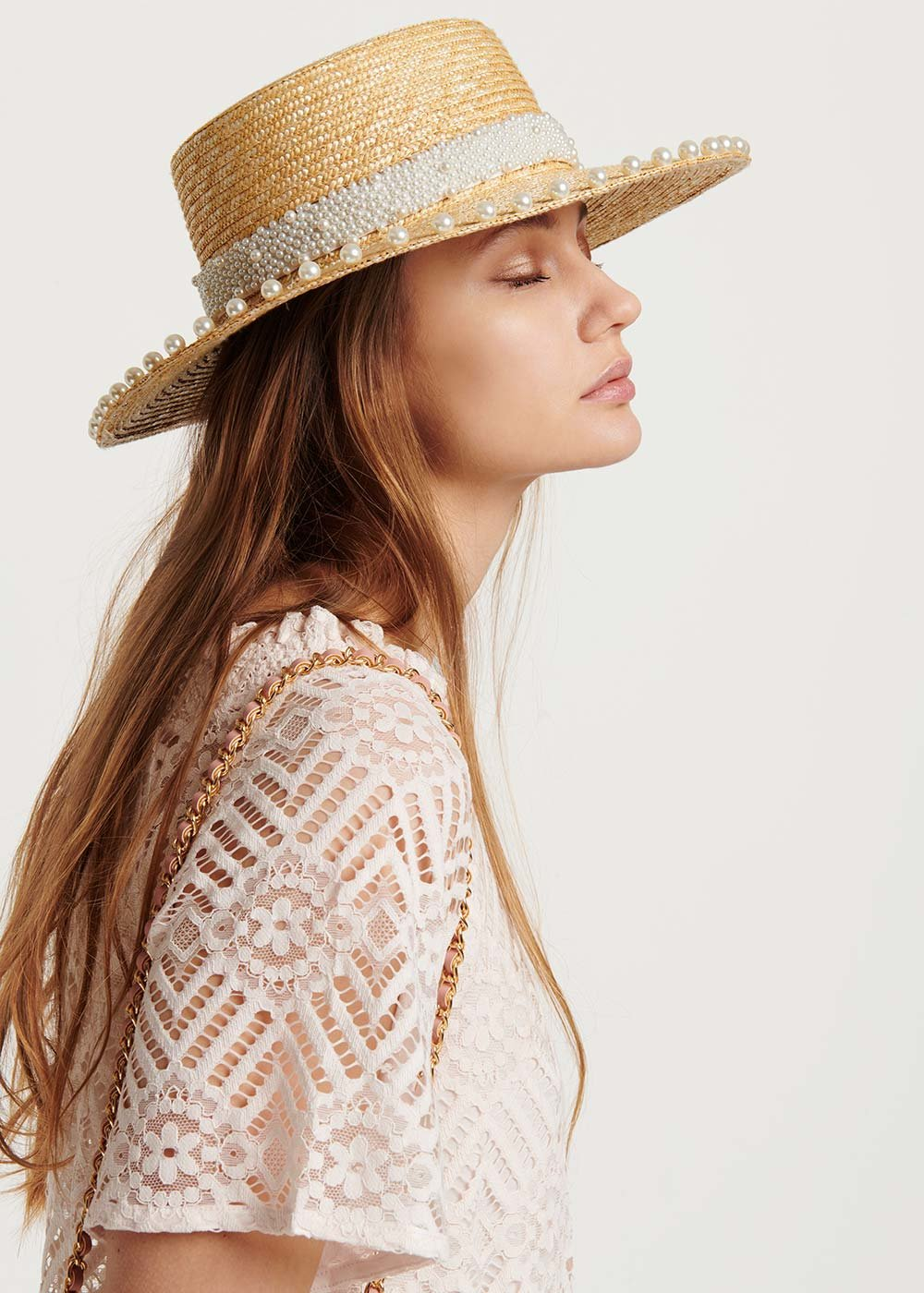 Cabys hat with pearl detail - Light Beige - Woman