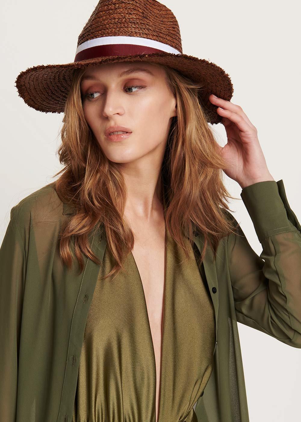 Cappello Cadel con fascia a contrasto - Cacao - Donna