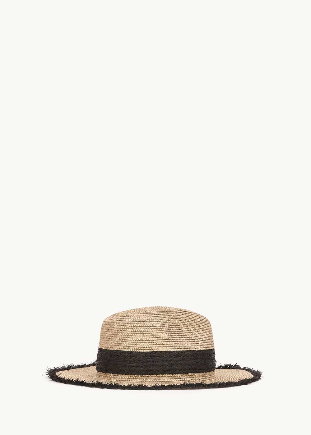 Cadys hat with contrasting black band - Light Beige - Woman