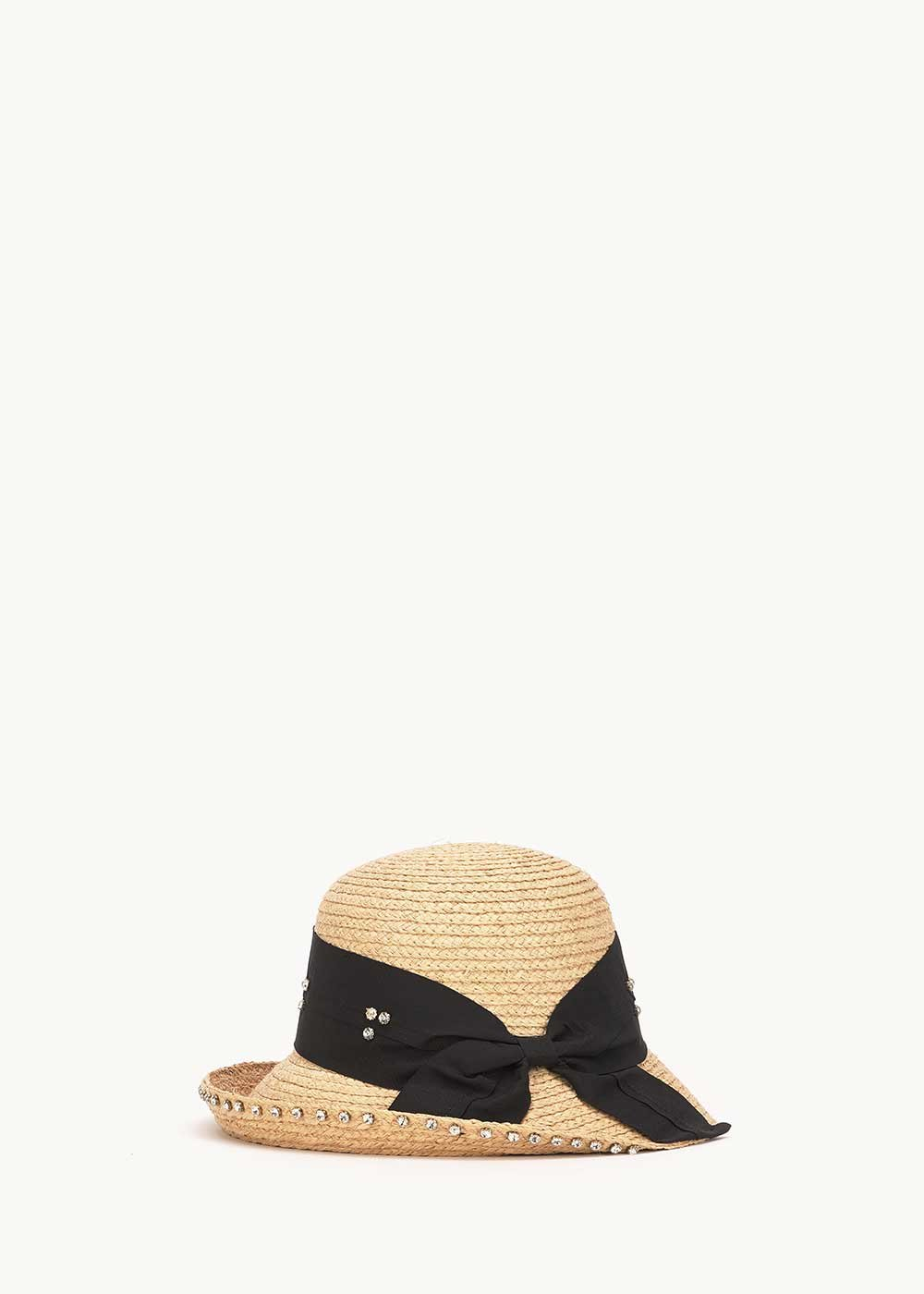 Cappello Cahil con fascia nera e strass - Light Beige - Donna