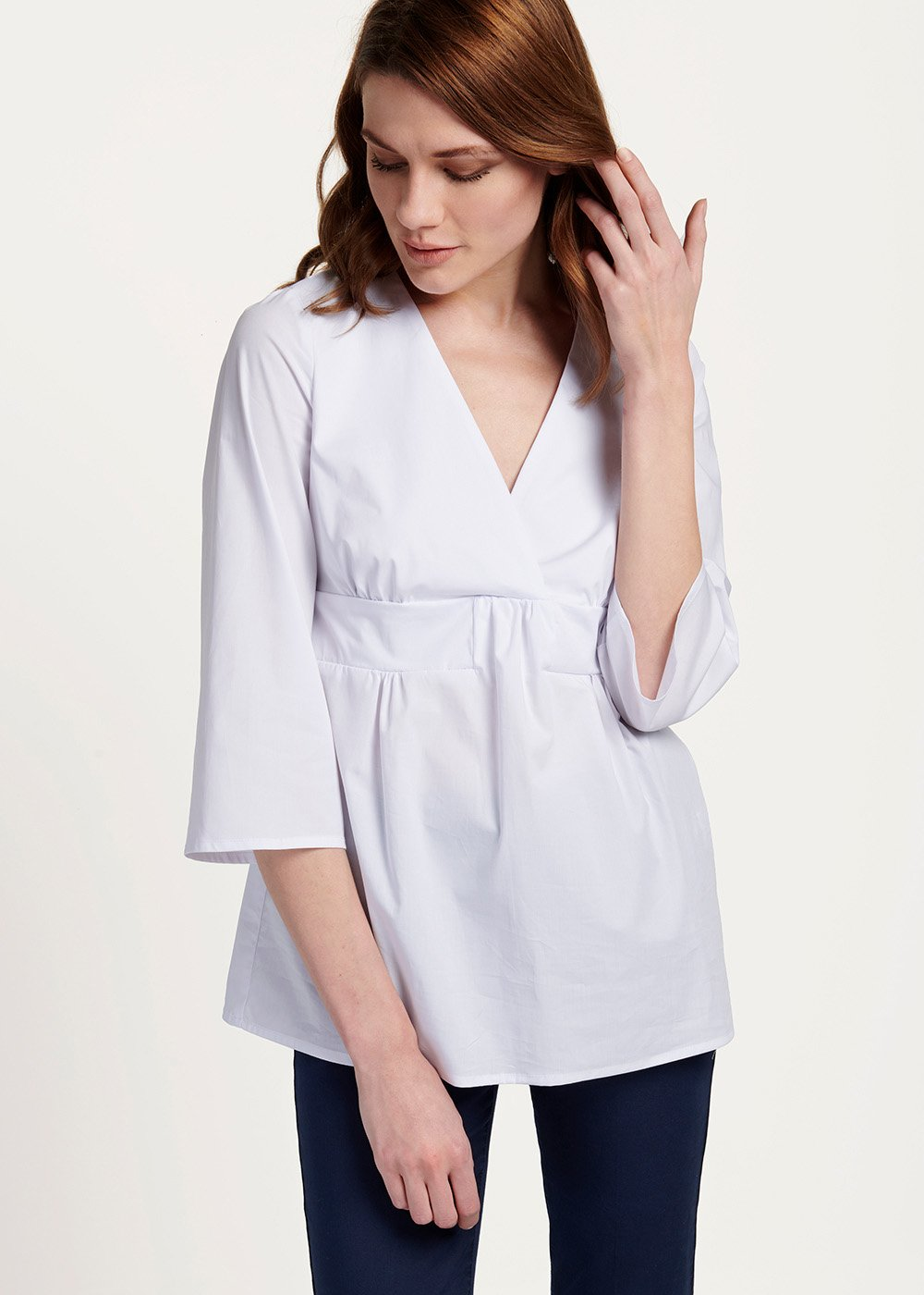 Cindy V-neck shirt - White - Woman