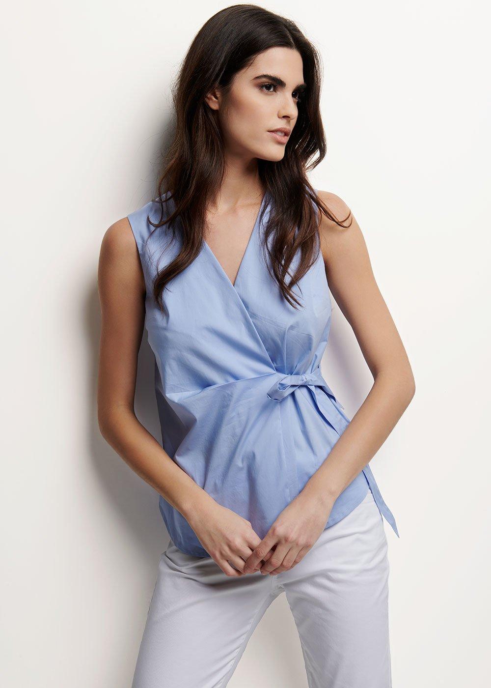 Camicia Victoria con fiocco laterale - Rugiada - Donna
