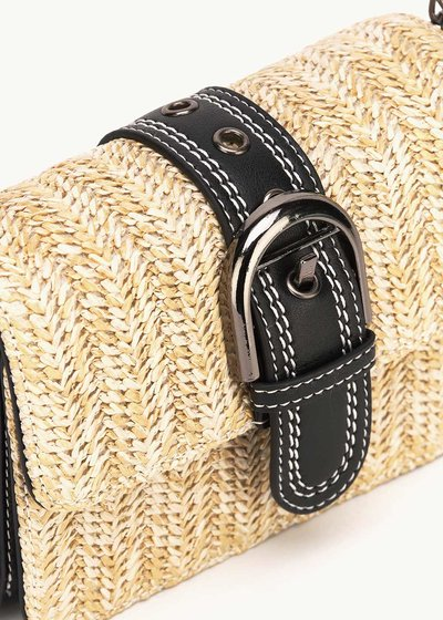 Besk straw bag with buckle