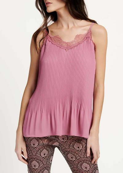 Tyler top with lace and pleated effect at the bottom