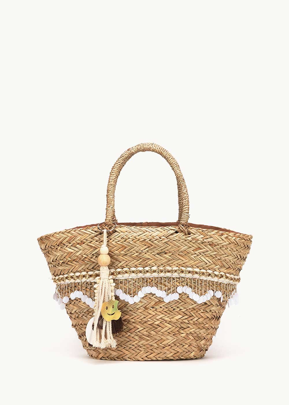 Bamor straw bag with detail of sequins - Light Beige - Woman