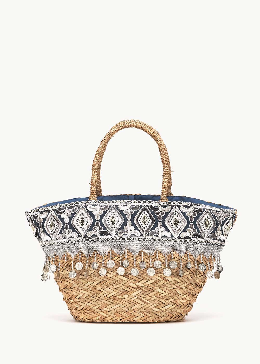 Bandy bag with coloured design and fringes - Blue - Woman