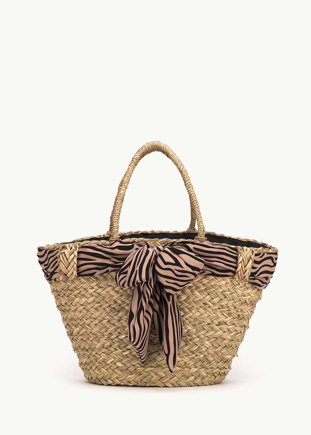 Balk straw beach bag with zebra patterned scarf - Light Beige Animalier - Woman