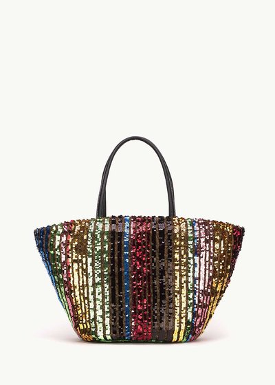 Baloon beach bag with multicolour sequins