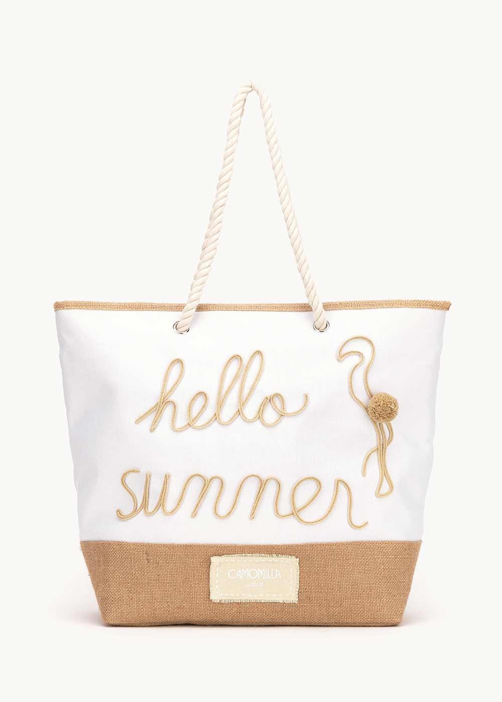 Barl beach bag with writing - White - Woman