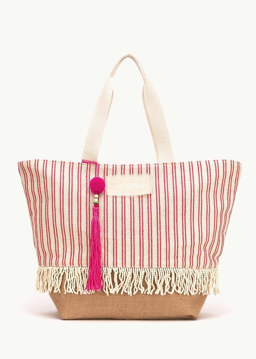 Barth bag with striped pattern - White / Aragosta Stripes - Woman