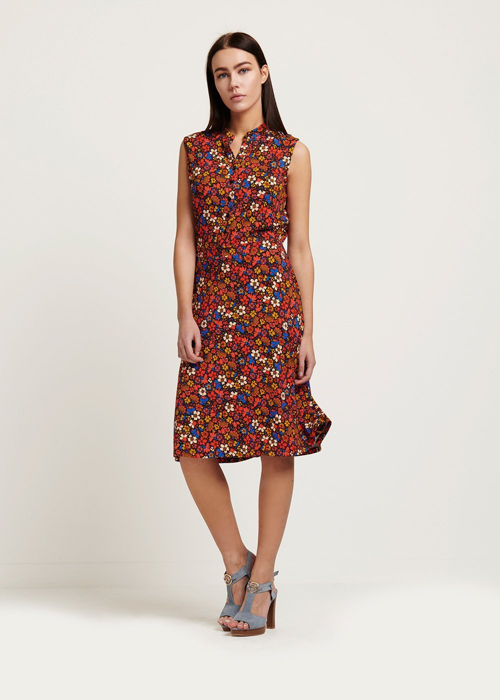 Arlen dress with mixed colours - Black / Aragosta / Fantasia - Woman