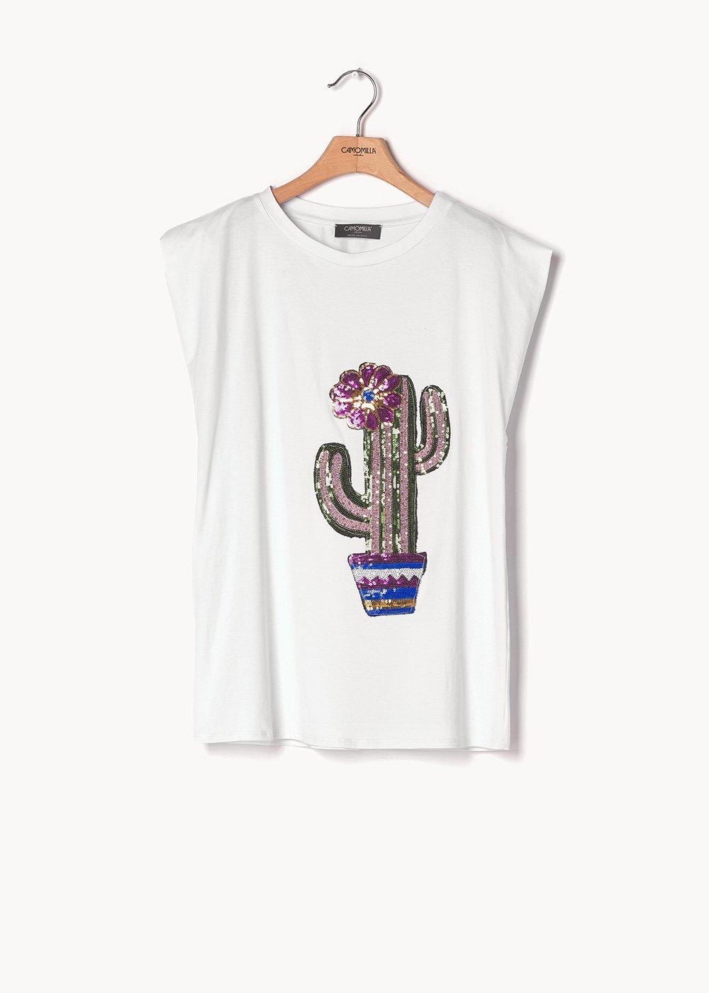 Silvia viscose T-shirt with sequins - White - Woman