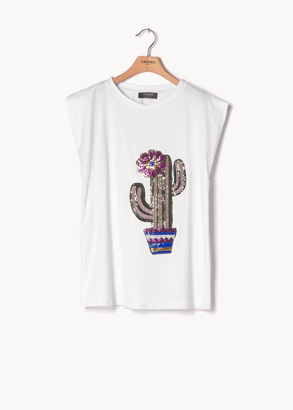 T-shirt Silvia in viscosa e paillettes - White - Donna