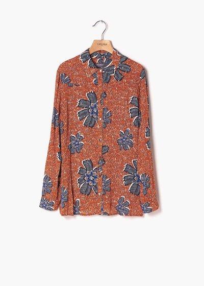 Camicia Alessia stampa fiorata papaja e medium blu