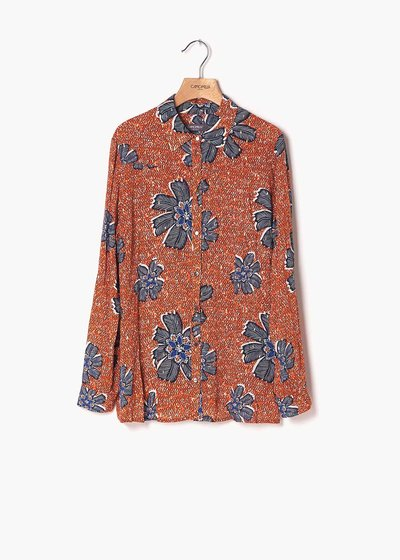 Alessia shirt with papaya and medium blue flower print