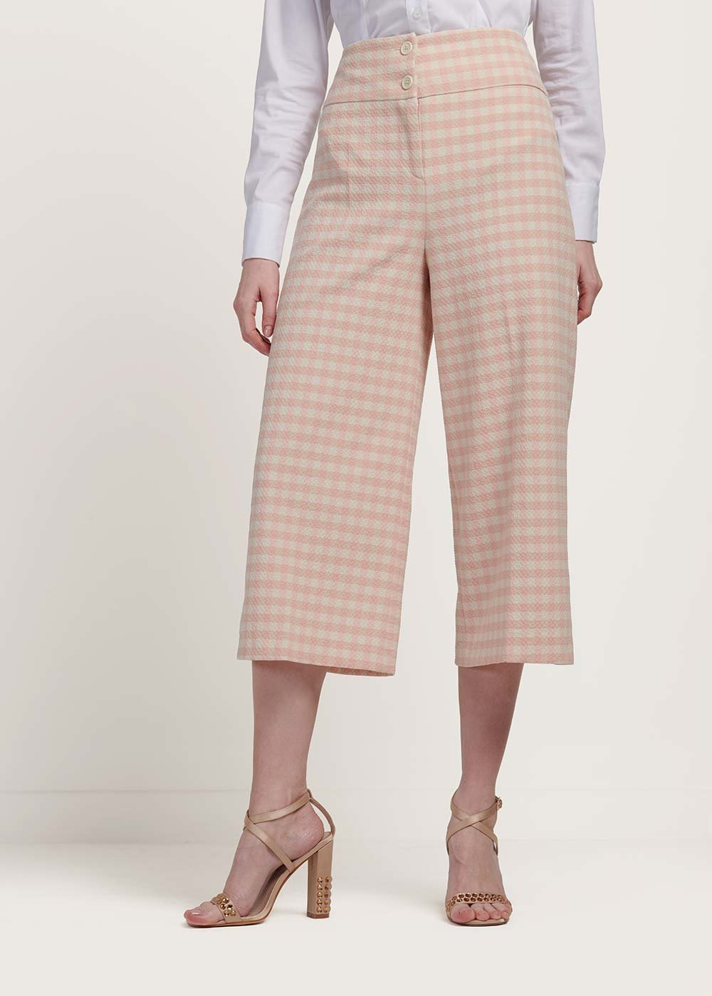 Megan trousers with checked print - White / Rose Fantasia - Woman