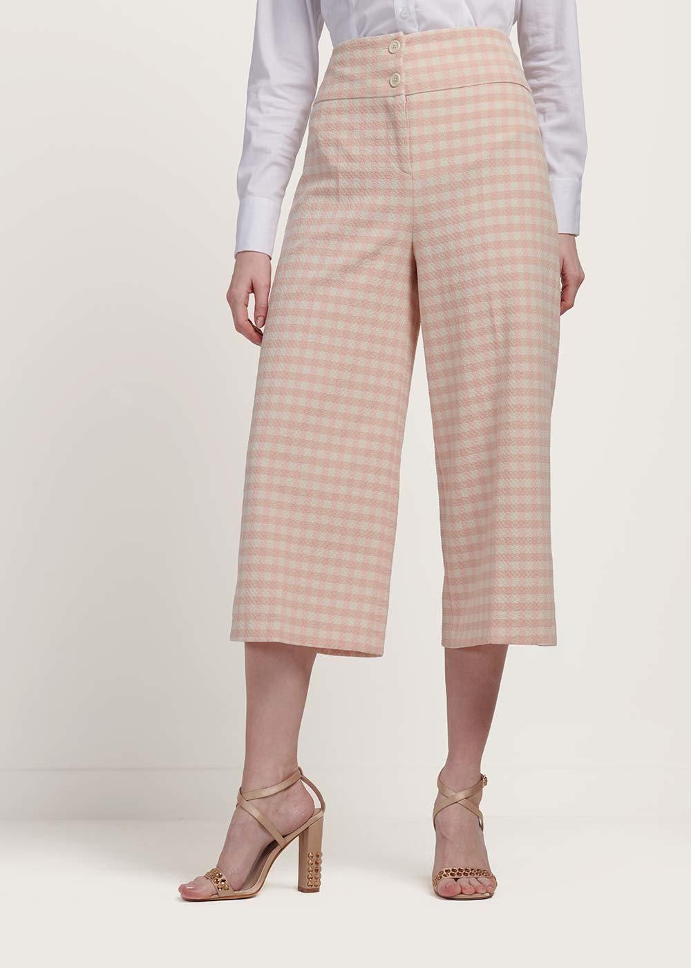 Pantalone modello Megan stampa check - White /  Rose Fantasia - Donna