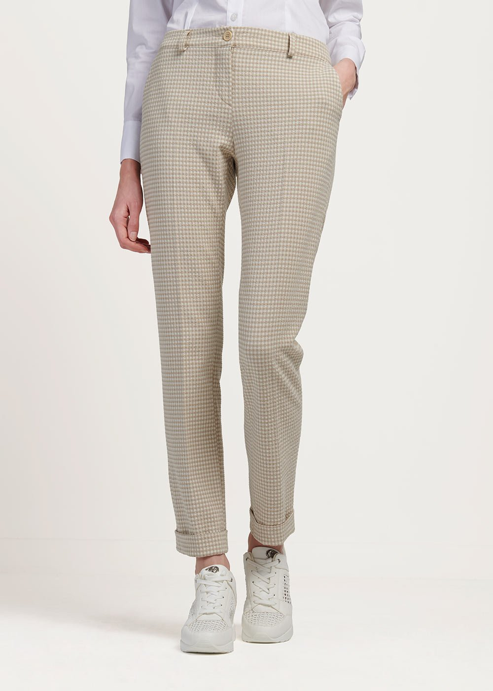 Bella trousers with check pattern - White / Beige Fantasia - Woman