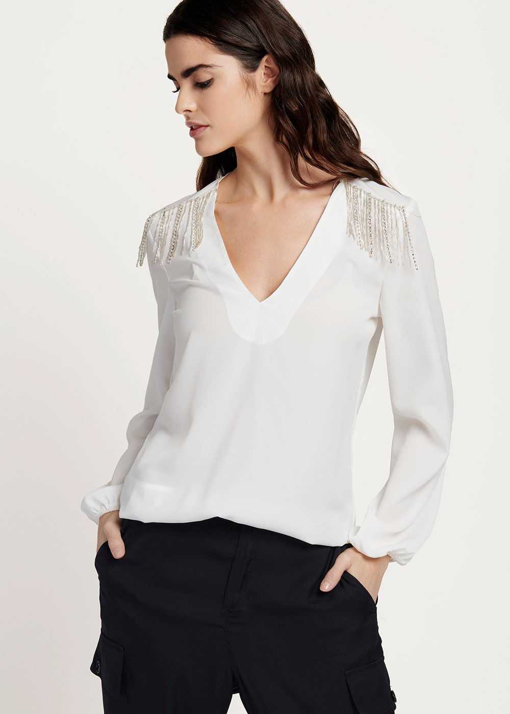 Calin v-neck blouse with appliques on the shoulders - White - Woman