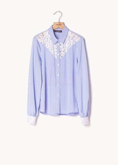 Callas striped shirt with lace inserts