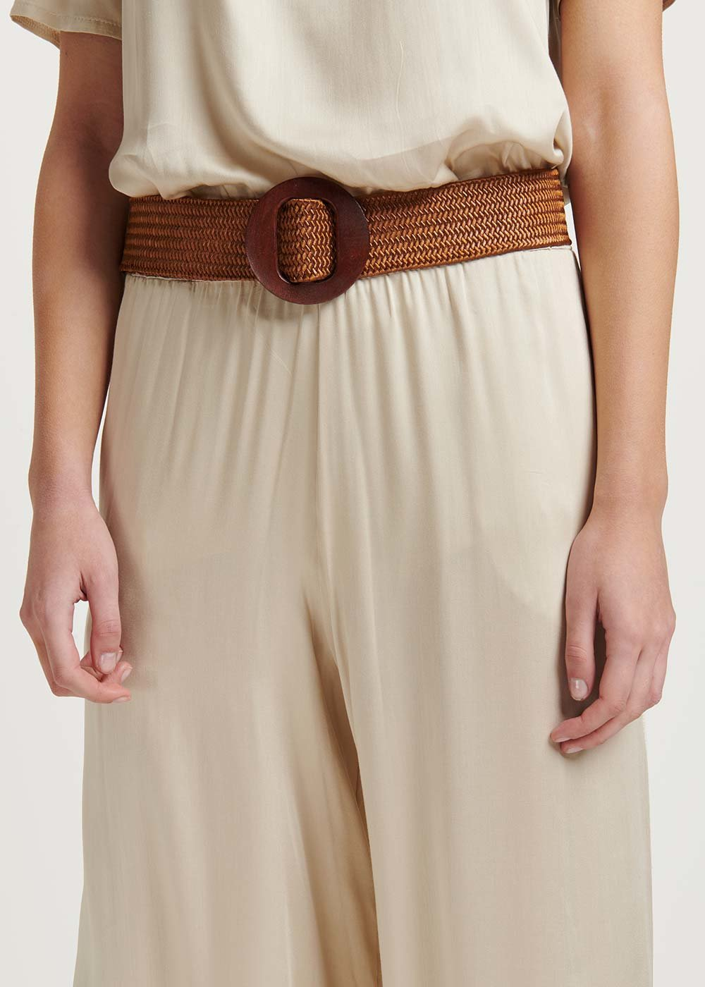 Cassie belt with wooden buckle - Cocoa - Woman