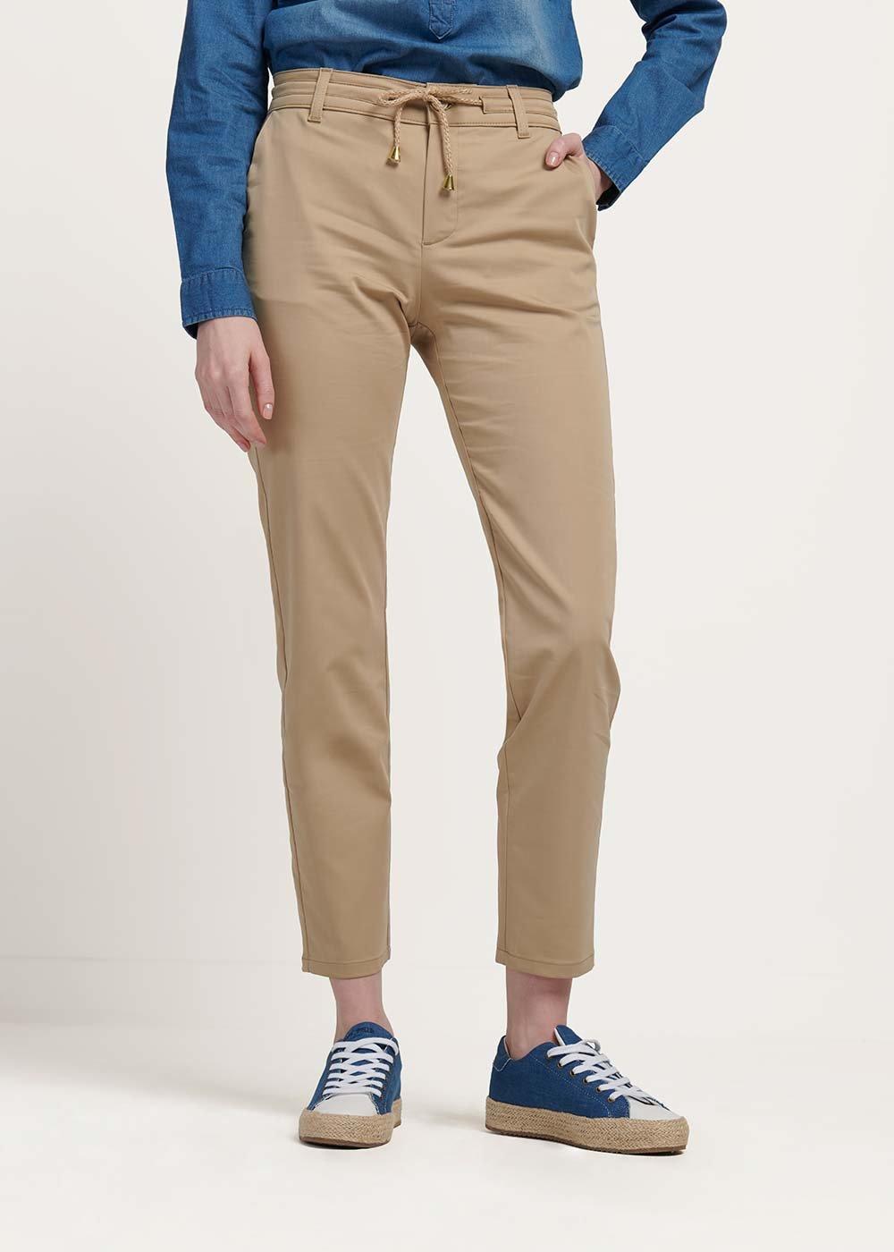 Pantalone modello Alice con cordone in vita - Beige - Donna