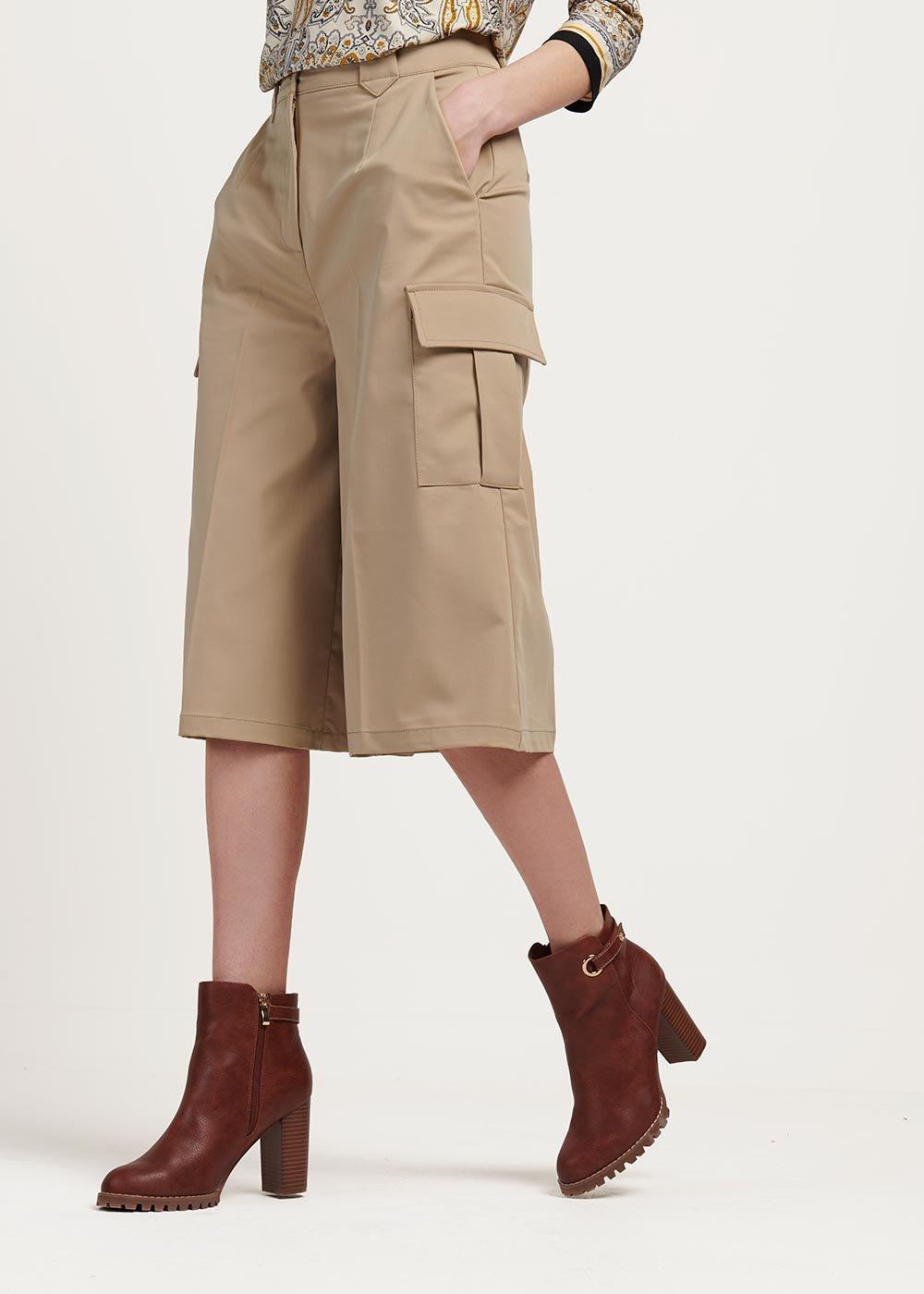 Pantalone modello Megan con tasconi laterali - Beige - Donna
