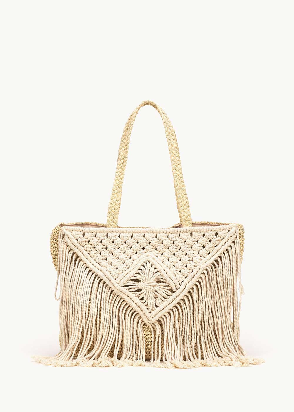 Shopping bag Bardy con frange - Light Beige - Donna