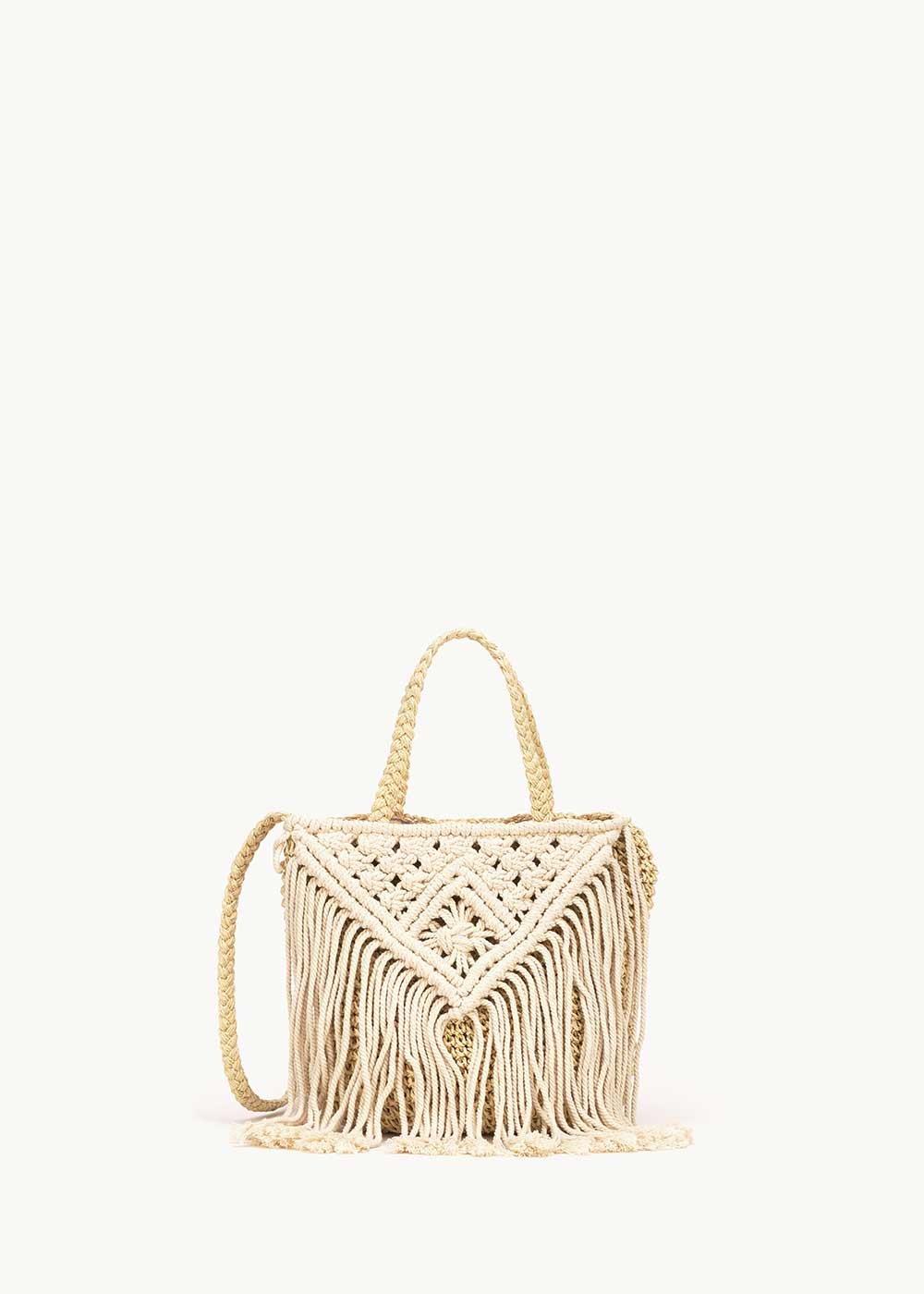 Shopping bag Barkly con frange - Light Beige - Donna