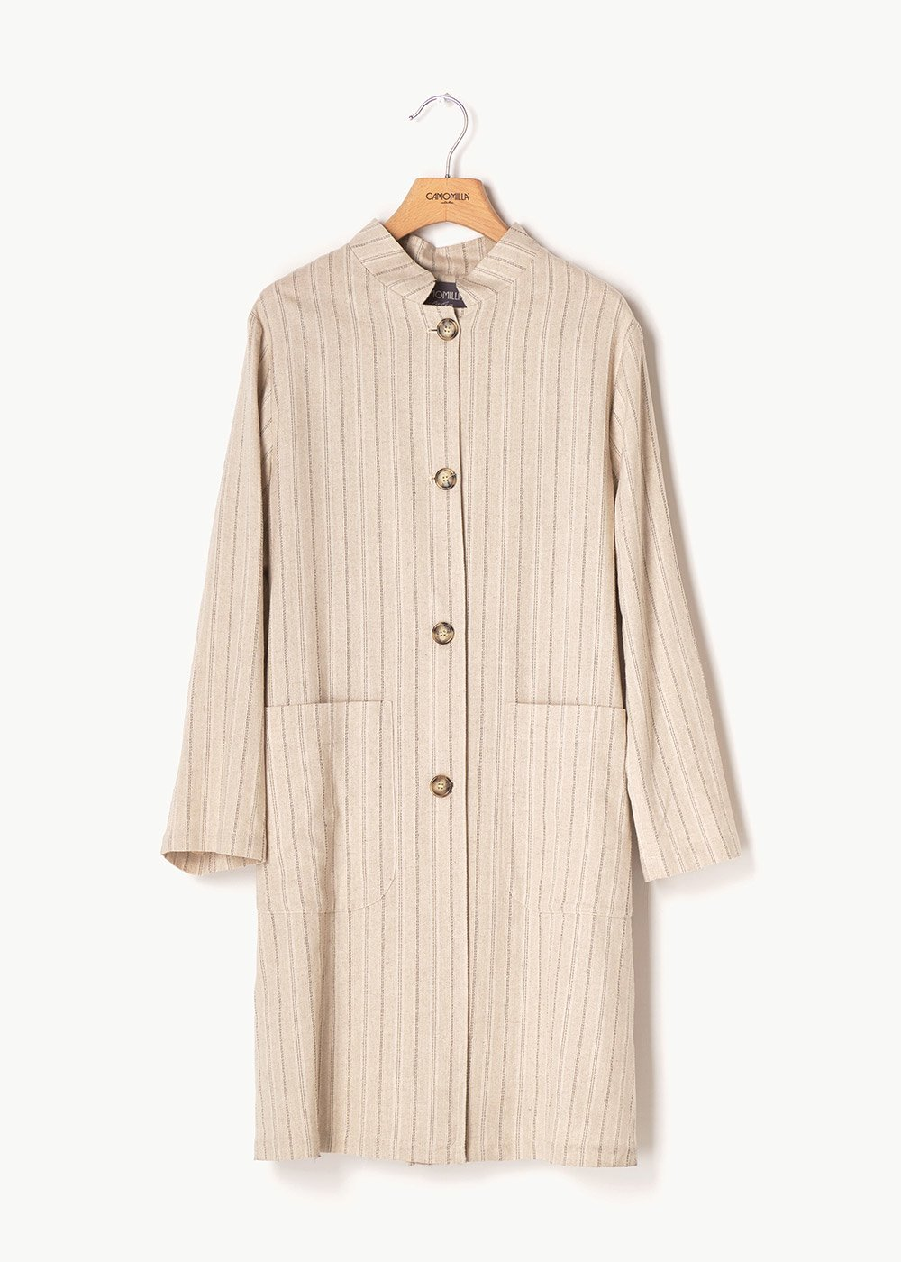 Bess pinstriped raincoat with tortoiseshell buttons - Beige \ Silver Stripes - Woman