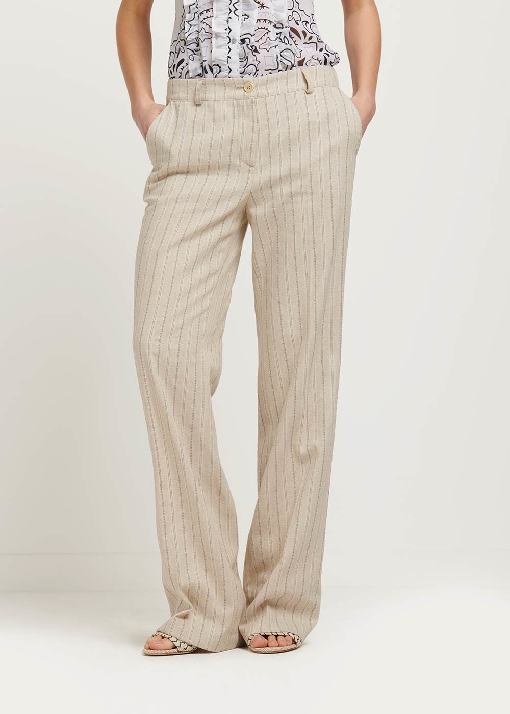 Ashley pinstriped trousers - Beige \ Silver Stripes - Woman