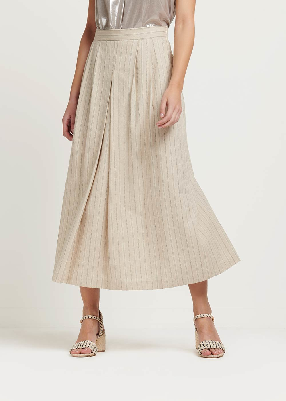 Gioia pinstriped skirt - Beige \ Silver Stripes - Woman