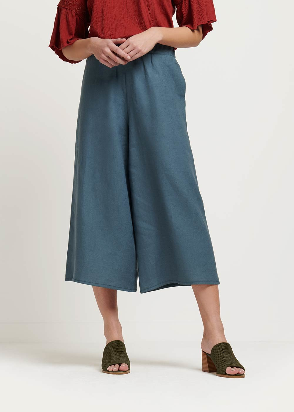 Megan linen capri trousers - Blue - Woman