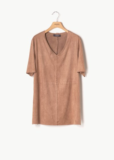 Sharil faux-suede T-shirt with alcantara effect
