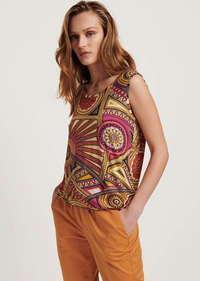 Maria sleeveless patterned top