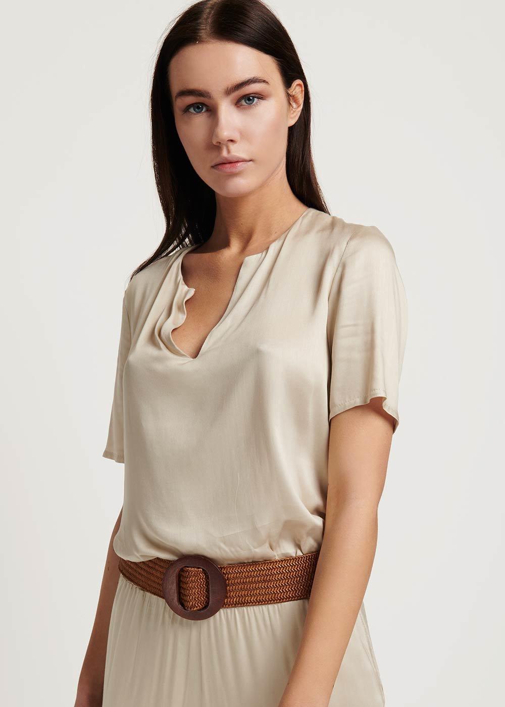 Sherry T-shirt with short sleeve - Light Beige - Woman