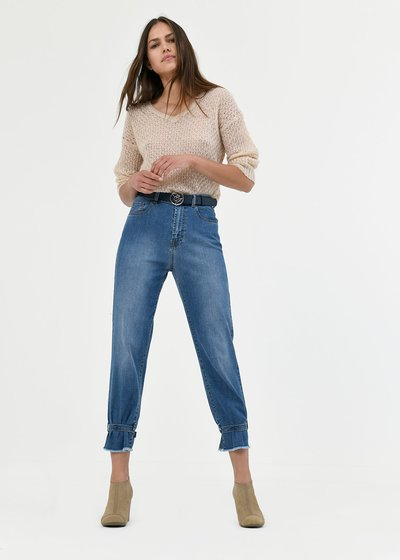 denims with buckle hem