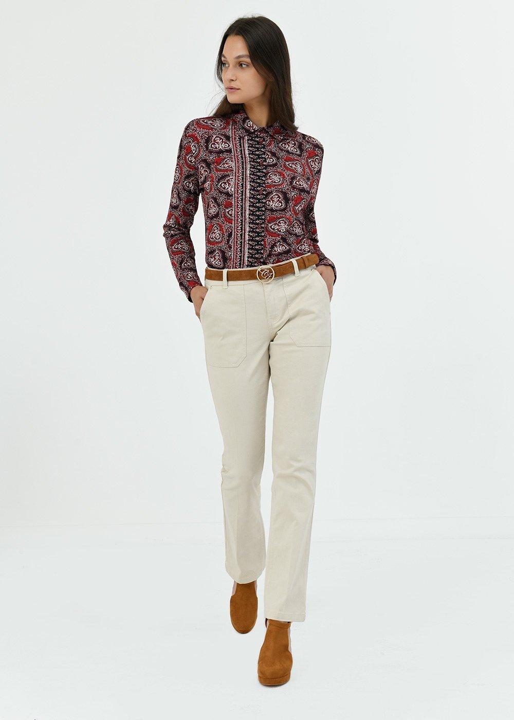 straight leg cotton trousers - Light Beige - Woman