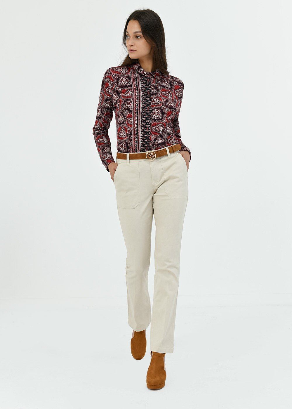 Pantalone Pagor in cotone gamba dritta - Light Beige - Donna