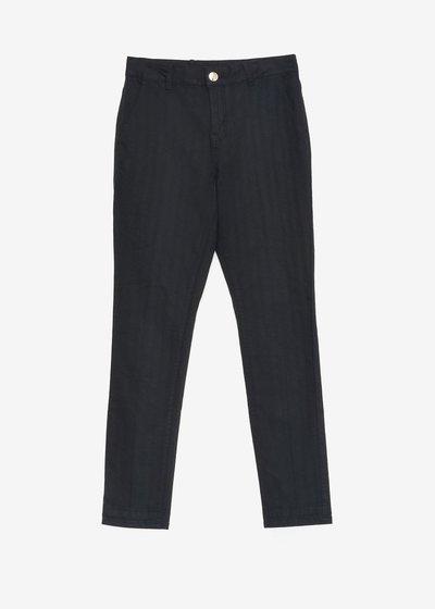 Slim-leg cotton blend trousers